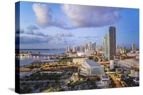 Elevated View over Biscayne Boulevard and the Skyline of Miami, Florida, USA-Gavin Hellier-Stretched Canvas Print