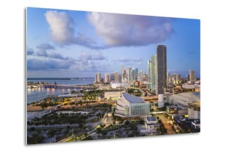 Elevated View over Biscayne Boulevard and the Skyline of Miami, Florida, USA-Gavin Hellier-Metal Print