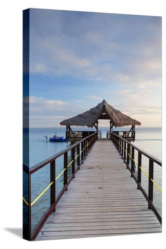 Jetty on Leleuvia Island, Lomaiviti Islands, Fiji-Ian Trower-Stretched Canvas Print