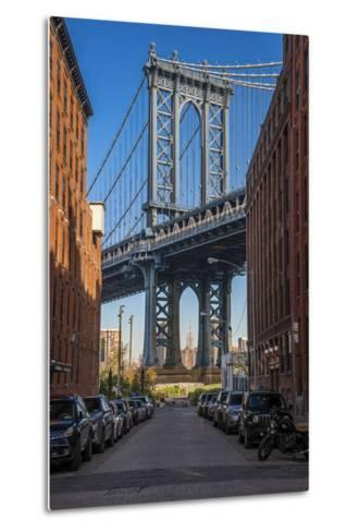 View Toward Manhattan Bridge with the Empire State Building in the Background, Brooklyn, New York-Stefano Politi Markovina-Metal Print