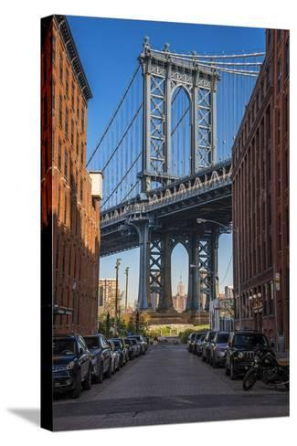 View Toward Manhattan Bridge with the Empire State Building in the Background, Brooklyn, New York-Stefano Politi Markovina-Stretched Canvas Print