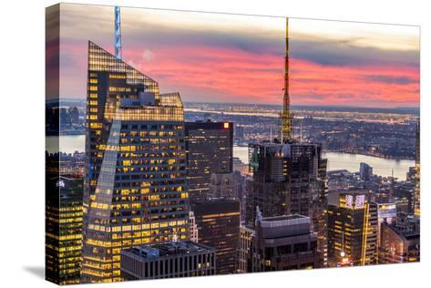 Midtown Skyline with Empire State Building from the Rockefeller Center, Manhattan, New York City-ClickAlps-Stretched Canvas Print