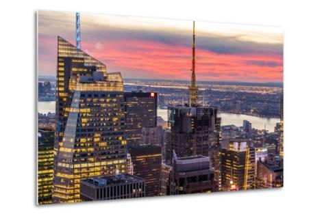 Midtown Skyline with Empire State Building from the Rockefeller Center, Manhattan, New York City-ClickAlps-Metal Print