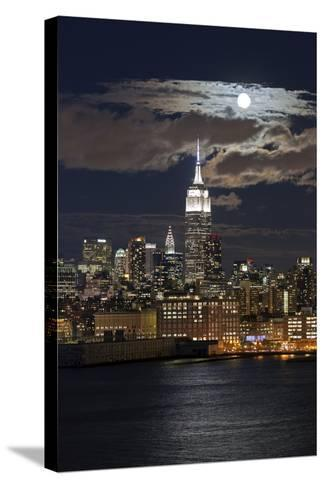 Manhattan, Moonrise over the Empire State Building-Gavin Hellier-Stretched Canvas Print