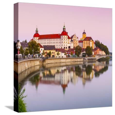 Neuburg Castle Reflected in the River Danube at Dawn, Neuburg, Neuburg-Schrobenhausen-Doug Pearson-Stretched Canvas Print