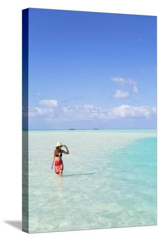 Woman at Blue Lagoon, Fakarava, Tuamotu Islands, French Polynesia (Mr)-Ian Trower-Stretched Canvas Print