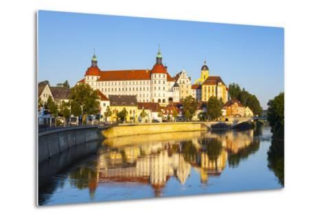 Neuburg Castle Reflected in the River Danube, Neuburg, Neuburg-Schrobenhausen, Bavaria, Germany-Doug Pearson-Metal Print