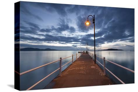Pier of Lake Trasimeno at Dusk, Perugia, Umbria, Italy.-ClickAlps-Stretched Canvas Print