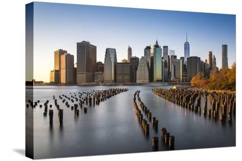 Lower Manhattan Skyline at Sunset from Brooklyn Bridge Park, Brooklyn, New York, USA-Stefano Politi Markovina-Stretched Canvas Print