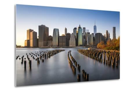 Lower Manhattan Skyline at Sunset from Brooklyn Bridge Park, Brooklyn, New York, USA-Stefano Politi Markovina-Metal Print
