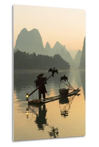 Cormorant Fisherman on Li River at Dawn, Xingping, Yangshuo, Guangxi, China-Ian Trower-Metal Print