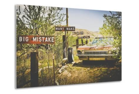 Usa, Route 66, Details of an Old Rugged Coca Cola Fridge and Car, Vintage Processing-Francesco Riccardo Iacomino-Metal Print