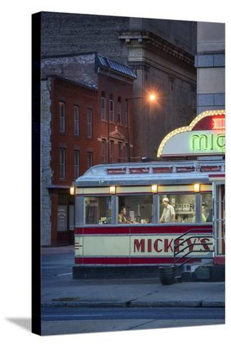 Usa,Midwest, Minnesota, St.Paul, Mickey's Diner-Christian Heeb-Stretched Canvas Print