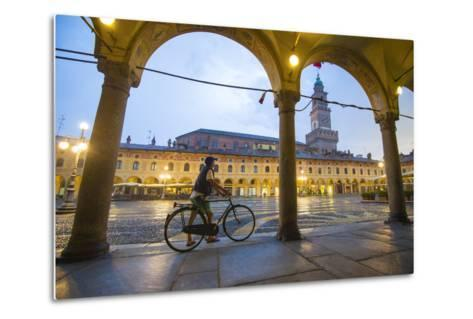 Piazza Ducale, Vigevano, Lombardy, Italy. Rainy Sunset and People.-Marco Bottigelli-Metal Print