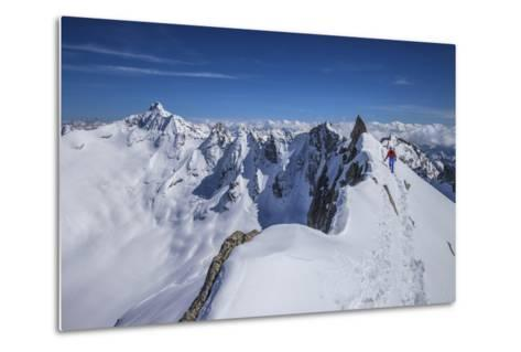 Mountaineer at Canton Peak, Forno Valley, Switzerland-ClickAlps-Metal Print