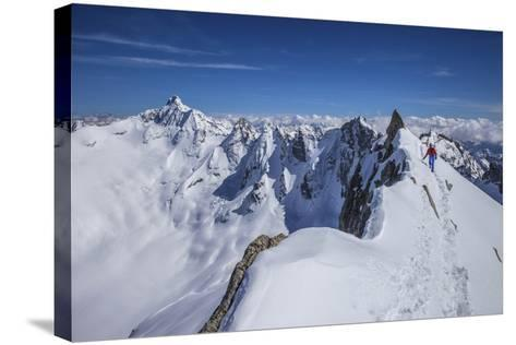 Mountaineer at Canton Peak, Forno Valley, Switzerland-ClickAlps-Stretched Canvas Print