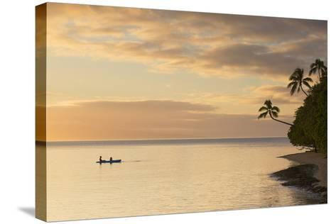 People Kayaking at Sunset, Leleuvia Island, Lomaiviti Islands, Fiji-Ian Trower-Stretched Canvas Print
