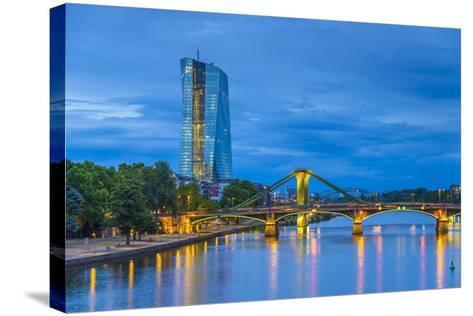 Germany, Hessen, Frankfurt Am Main, Ostend, River Main, New European Central Bank Building-Alan Copson-Stretched Canvas Print
