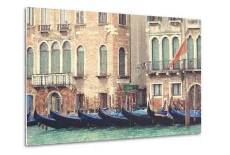 Parked Gondolas Along the Grand Canal of Venice, Veneto, Venice District, Italy-ClickAlps-Metal Print