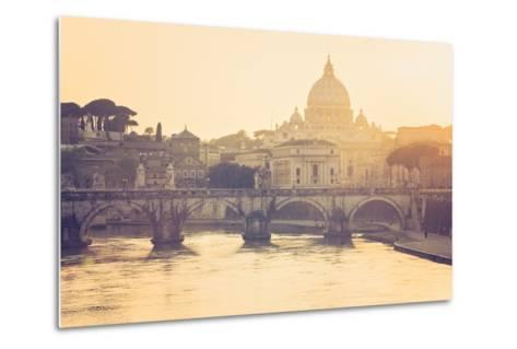 Rome, Lazio, Italy. St Angel Bridge at Sunset.-Marco Bottigelli-Metal Print