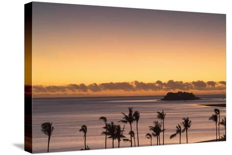 View of Wadigi Island at Sunset, Mamanuca Islands, Fiji-Ian Trower-Stretched Canvas Print