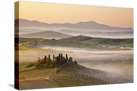 Belvedere Farm at Sunsise, Orcia Valley,Tuscany,Italy.-ClickAlps-Stretched Canvas Print