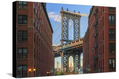 Usa, New York, Brooklyn, Dumbo, Manhattan Bridge and Empire State Building-Michele Falzone-Stretched Canvas Print