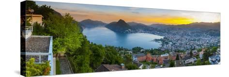 Elevated View over Lugano Illuminated at Sunset, Lake Lugano, Ticino, Switzerland-Doug Pearson-Stretched Canvas Print