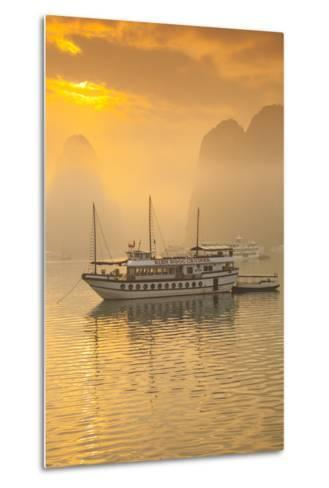 Vietnam, Halong Bay, Tourist Boats, Sunrise-Walter Bibikow-Metal Print