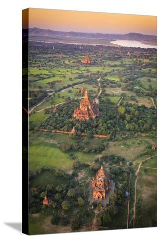 Myanmar (Burma), Temples of Bagan (Unesco World Heritage Site) Elevated View from Baloon-Michele Falzone-Stretched Canvas Print