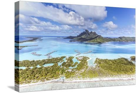 Aerial View of Bora Bora Island with St Regis and Four Seasons Resorts, French Polynesia-Matteo Colombo-Stretched Canvas Print