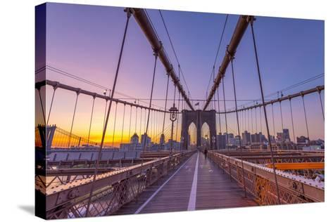 Usa, New York, Brooklyn Bridge-Alan Copson-Stretched Canvas Print