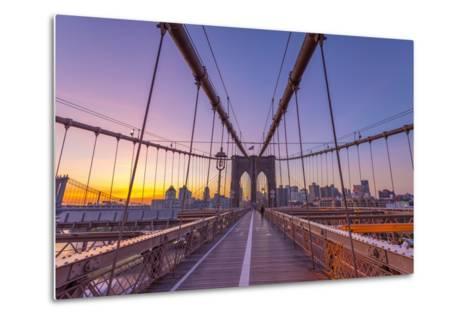 Usa, New York, Brooklyn Bridge-Alan Copson-Metal Print