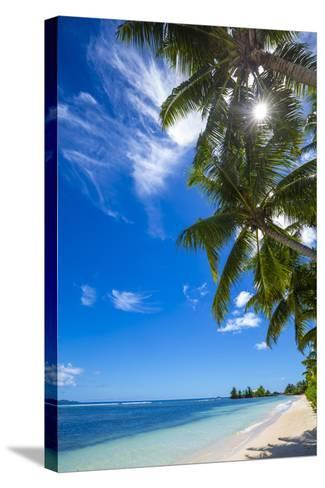 Palm Trees and Tropical Beach, La Digue, Seychelles-Jon Arnold-Stretched Canvas Print