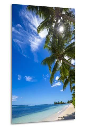 Palm Trees and Tropical Beach, La Digue, Seychelles-Jon Arnold-Metal Print