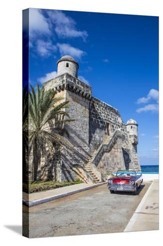 Cojimar Fort and 1959 Dodge Custom Loyal Lancer Convertible, Cojimar, Havana, Cuba (Mr)-Jon Arnold-Stretched Canvas Print