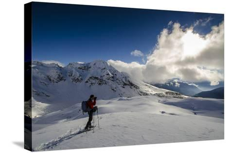 A Hiker Photographing the Winter Landscape (Val D'Ayas, Valle D'Aosta)-ClickAlps-Stretched Canvas Print