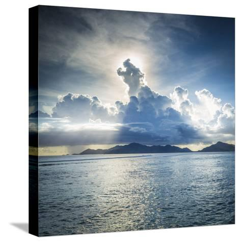 Praslin Island from Anse Source D'Argent Beach, La Digue, Seychelles-Jon Arnold-Stretched Canvas Print