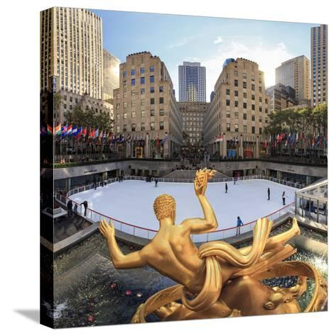 Usa, New York, New York City, Manhattan, Rockefeller Center, Ice Rink-Michele Falzone-Stretched Canvas Print