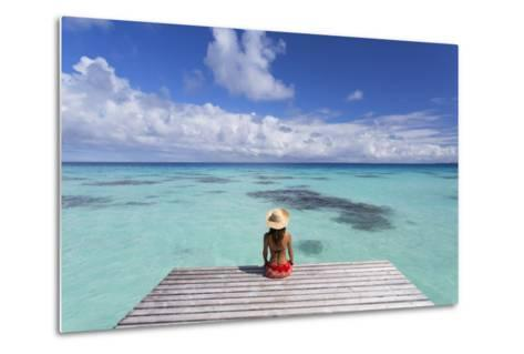 Woman Sitting on Jetty, Fakarava, Tuamotu Islands, French Polynesia (Mr)-Ian Trower-Metal Print
