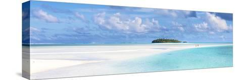 Tourist Couple on Sand Bar in Aitutaki Lagoon, Cook Islands-Matteo Colombo-Stretched Canvas Print