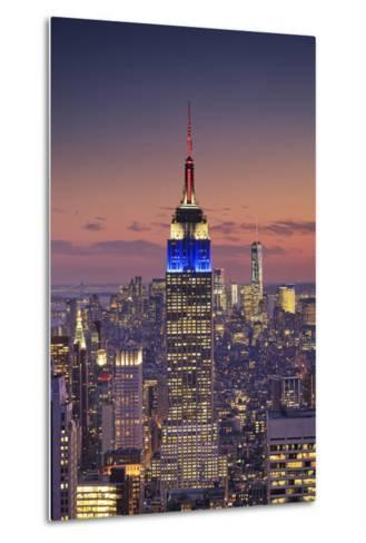 Usa, New York, Manhattan, Top of the Rock Observatory, Midtown Manhattan and Empire State Building-Michele Falzone-Metal Print