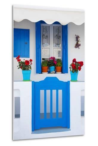 Europe, Greece, Cyclades Island,Aegean Sea, Mykonos, Myconos, Blue Gate at Private Home-Christian Heeb-Metal Print