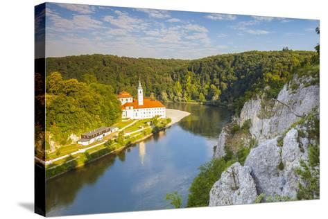 Elevated View over Weltenburg Abbey and the River Danube, Lower Bavaria, Bavaria, Germany-Doug Pearson-Stretched Canvas Print