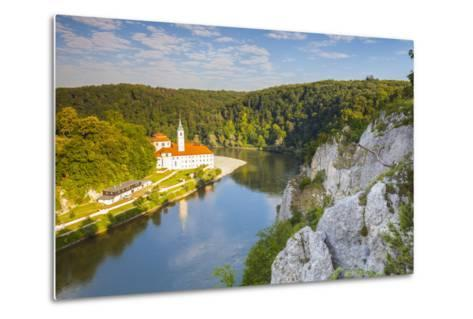 Elevated View over Weltenburg Abbey and the River Danube, Lower Bavaria, Bavaria, Germany-Doug Pearson-Metal Print
