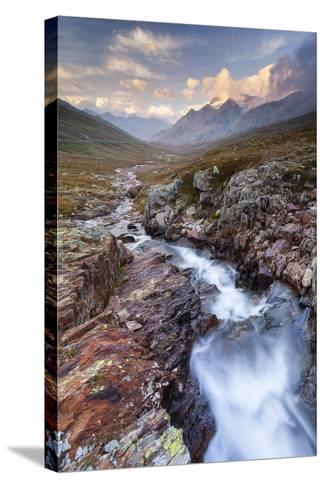 Gavia Pass, Stelvio National Park, Lombardy, Italy. Mountain River at Sunset.-ClickAlps-Stretched Canvas Print