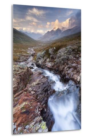 Gavia Pass, Stelvio National Park, Lombardy, Italy. Mountain River at Sunset.-ClickAlps-Metal Print