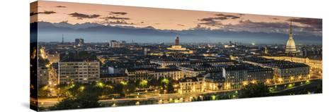 Panoramic View at Dusk, Turin, Piedmont, Italy-Stefano Politi Markovina-Stretched Canvas Print