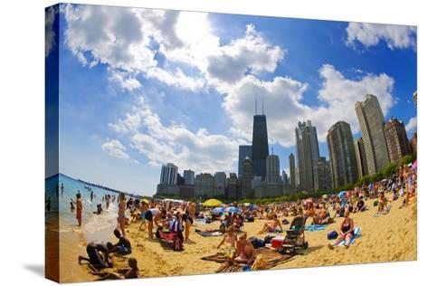 Tourists on a Beach, Oak Street Beach, Lake Shore Drive, Lake Michigan--Stretched Canvas Print