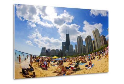 Tourists on a Beach, Oak Street Beach, Lake Shore Drive, Lake Michigan--Metal Print